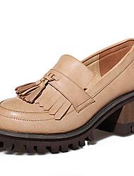 Damen-High Heels-Lässig-PU-Blockabsatz-Absätze / Rundeschuh-Schwarz / Mandelfarben