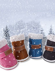 Winter Pink/Blue/Dark Grey/Brown Waterproof Muticolors Shoes with Lamb for Pets Dogs