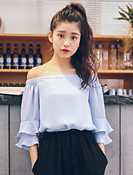 Women's Casual/Daily Cute Summer Blouse,Solid Off Shoulder ½ Length Sleeve Blue / Pink Rayon Thin