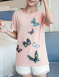 Women's Casual/Daily Cute Summer T-shirt,Solid / Animal Print Round Neck Short Sleeve Pink / White Cotton Thin