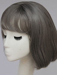 Fashion Gray Short Wig Short Gray Bob Wig with Fringe Bang Short Brown Hair Wigs for Fashion Women