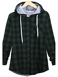 Women's Casual/Daily Street chic Large Size Slim Spring Jackets Plaid Hooded Long Sleeve