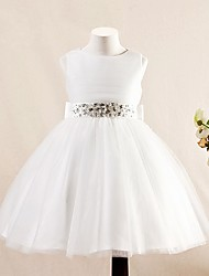 AMGAM A-line Short / Mini Flower Girl Dress - Tulle Jewel with Bow(s) Crystal Detailing