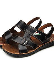Men's Sandals Summer Sandals / Open Toe Leather Outdoor Flat Heel Others Black / Brown / Yellow Walking
