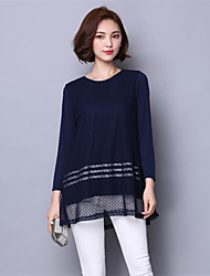 Maternity Round Neck Mesh T-shirt,Polyester Long Sleeve
