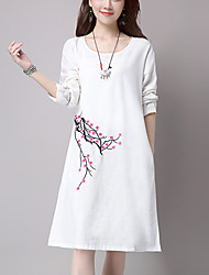 Women's Casual Simple Loose Dress,Embroidered Knee-length Long Sleeve White /Orange /Purple Cotton / Linen Spring / Fall