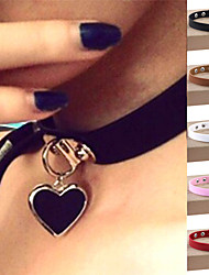 Women's Choker Necklaces Pendant Necklaces Collar Necklace Leather Silver Plated Alloy HeartSexy Fashion Vintage Punk Adjustable