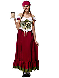 Cosplay Costumes / Party Costume Maid Costumes / Oktoberfest/Beer Festival/Holiday Halloween Costumes Black / Wine Red Solid Dress