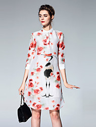 Boutique S Going out Chinoiserie Sheath DressFloral Stand Knee-length  Sleeve Red Linen / Rayon Summer