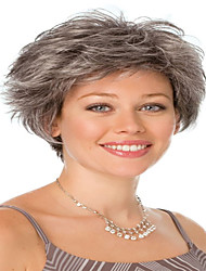Grey Color Short Curly Wigs Capless Synthetic Wigs For Women