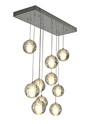 Modern Led Pendant Light 10 Lights G4 Bulbs included Warm White Metal Chrome Crystal Globes for Dinning Room