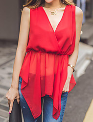 Women's Casual/Daily Simple Summer Blouse,Solid V Neck Sleeveless Red Cotton Sheer