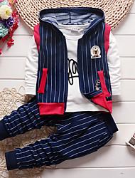 Boy's Cotton Spring/Autumn Fashion Cartoon Striped Casual Vest Coat Jacket Shirt Pants Sport Suit Three-piece Set