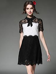 les femmes de mode sexy aofuli voir à travers patchwork de dentelle de broderie, plus manches courtes taille robe