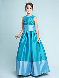 LAN TING BRIDE Floor Length Taffeta Junior Bridesmaid Dress A-line Princess Jewel Natural with Draping Sash / Ribbon - Sky Blue Lime