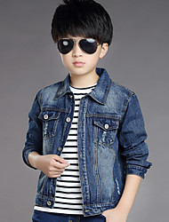 Boy's Cotton Spring/Autumn Fashion Patchwork Cowboy Outerwear Long Sleeve Sport Denim Jacket Coat