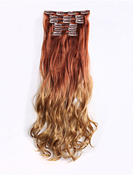 "Curly Ombre High Temperature Synthetic Hair Hairpiece 24"" 130g 16 Clips in False Hair Synthetic Clip In Hair Extensions"