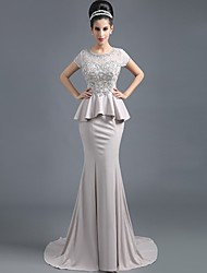 Formal Evening Dress Trumpet / Mermaid Jewel Sweep / Brush Train Satin with Lace / Crystal Brooch