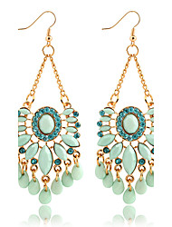 Hot Fashion Summer Style Ethnic Water Drop Crystal Dangle Earrings Gold Plated Blue Rhinestone Earrings Women