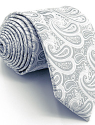 Men's Necktie Tie Gray Paisley 100% Silk For Men Wedding Business Fashion Extra Long