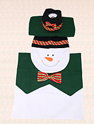 3pcs Bow Tie Snowman Christmas Toilet Seat Cover Decoration Tank Cover and Rug Bathroom Indoor Decor Practical Gift