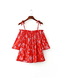 Women's Casual/Daily Simple Summer Tank Top,Print Strap Sleeveless Red Cotton Thin