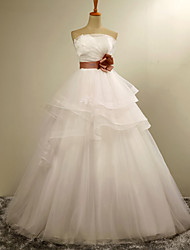 Ball Gown Wedding Dress Floor-length Strapless Organza with Tiered / Appliques / Flower / Sash / Ribbon