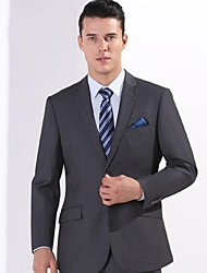 2017 Suits Standard Fit Notch Single Breasted Two-buttons Polyester Solid 2 Pieces Gray Slanted Flapped