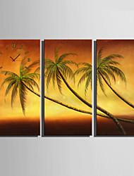 Moderne/Contemporain Autres Horloge murale,Rectangulaire Toile 30 x 60cm(12inchx24inch)x3pcs/ 40 x 80cm(16inchx32inch)x3pcs Intérieur