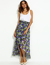 Women's Floral Blue / Purple Skirts Asymmetrical
