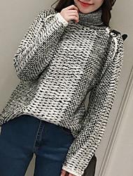 Normal Cardigan Femme Décontracté / Quotidien simple,Couleur Pleine Gris Col Roulé Manches Longues Acrylique Automne Moyen
