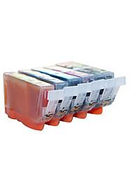 cartouches d'imprimante pgi825bk cli-826, un pack de 6 boîte, carton, différentes couleurs sont: noir, rouge, jaune, bleu, noir, gris