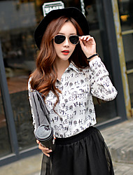 Women's Going out / Work / Holiday Cute / Street chic / Sophisticated Shirt,Print / Letter Shirt Collar Long Sleeve