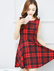 Women's Going out Cute Sheath Dress,Plaid Round Neck Mini Sleeveless Red Polyester Summer