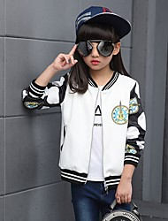Girl's Casual/Daily Print Blouse,Cotton Spring / Fall Black / White