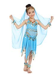 Dança do Ventre Roupa Crianças Actuação Cetim Chifom Poliéster Moedas de Ouro 8 Peças Sem Mangas Natural Blusa Saia Véu Braceletes Tiaras