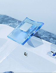 Contemporary Thermostat LED / Widespread with  Ceramic Valve Two Handles Three Holes for  Chrome  Bathtub