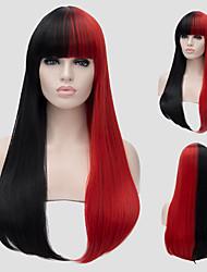 cabelo reto longo vermelho e preto e o vento nightclub cor performances de rua milhões com uma peruca parcial.