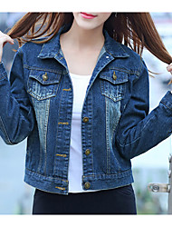 Women's Casual/Daily Simple Fall Denim Jackets,Solid Shirt Collar Long Sleeve Blue Cotton Medium