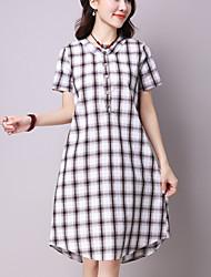 Women's Casual /Simple Loose /Shirt Dress,Check Shirt Collar Asymmetrical Blue /Red /Black Cotton /Linen Summer