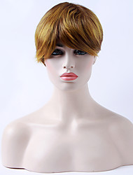 Capless Brown Wig 12 inches Short Straight Synthetic Hair Wigs