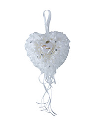 Pure White Rose Flower with Crystal Pearl Decoration Hanging Ring Pillow for Wedding Party(12.5*14cm)
