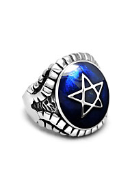 Men's Rings Star Pattern Personality Statement Rings Vintage Titanium Steel Ring Fashion Jewelry  Christmas Gifts