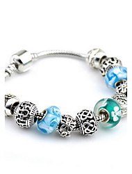 Retro Silver Blue DIY Bead Strand Charm Bracelet