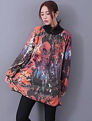 Damen Pullover Lässig/Alltäglich Street Schick Druck Rollkragen Mikro-elastisch Baumwolle Leinen Langarm Frühling Herbst