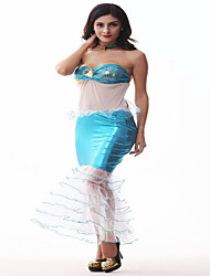 Costumes Déguisements de contes de fées Halloween Bleu Ciel / Rouge & noir Couleur Pleine Polyester Robe / Coiffure
