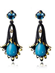 Vintage Earrings for Women Black Gold Plated Flower Drop Earrings Fashion Bohemian Jewelry Accessories