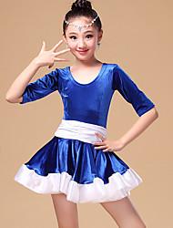 Latin Dance Dresses Children's Performance Rayon Ruffles 2 Pieces Black / Fuchsia / White Half Sleeve Dress / Shorts