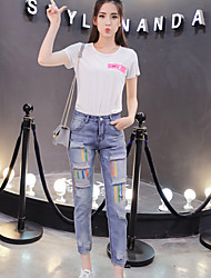 Women's Jeans Pants,Casual/Daily Simple Solid Cotton Inelastic Summer