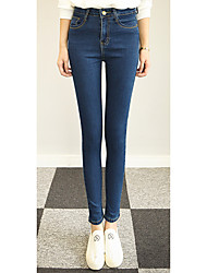 Women's Solid Blue / Black Jeans / Skinny Pants,Simple